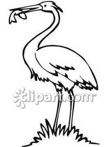Crane clipart with scoop black and white svg free download Black and White Crane Eating Fish - Royalty Free Clipart Picture ... svg free download