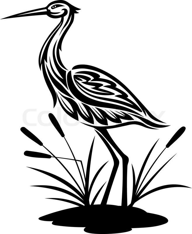 Crane clipart with scoop black and white graphic freeuse download Stork, heron, crane and egret birds vector illustrations in black ... graphic freeuse download