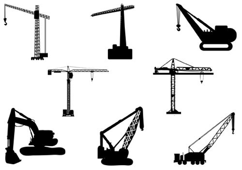 Tower crane overhead clipart png black and white Cranes and Scaffolding Vector Silhouette Graphics | Silhouette Clip ... png black and white