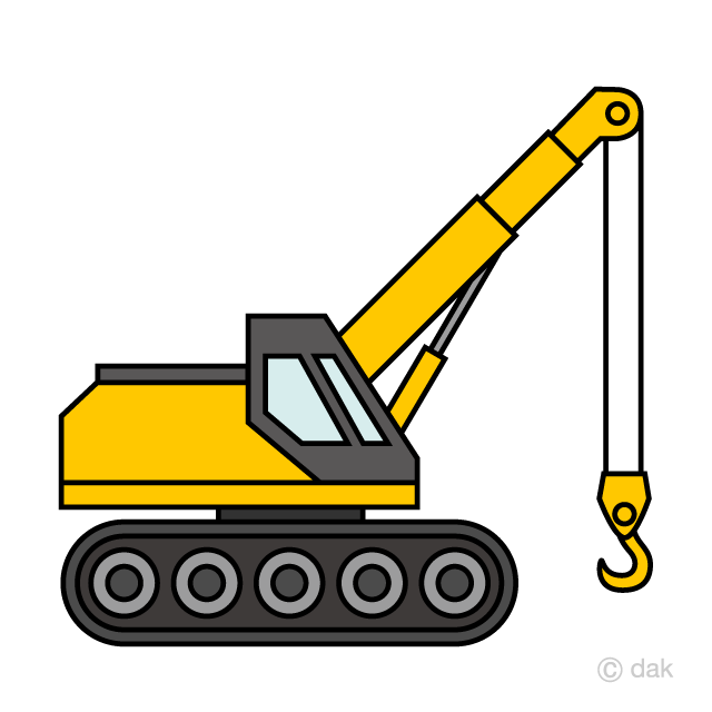 Crane truck clipart vector free stock Simple Crawler Crane Clipart Free Picture|Illustoon vector free stock