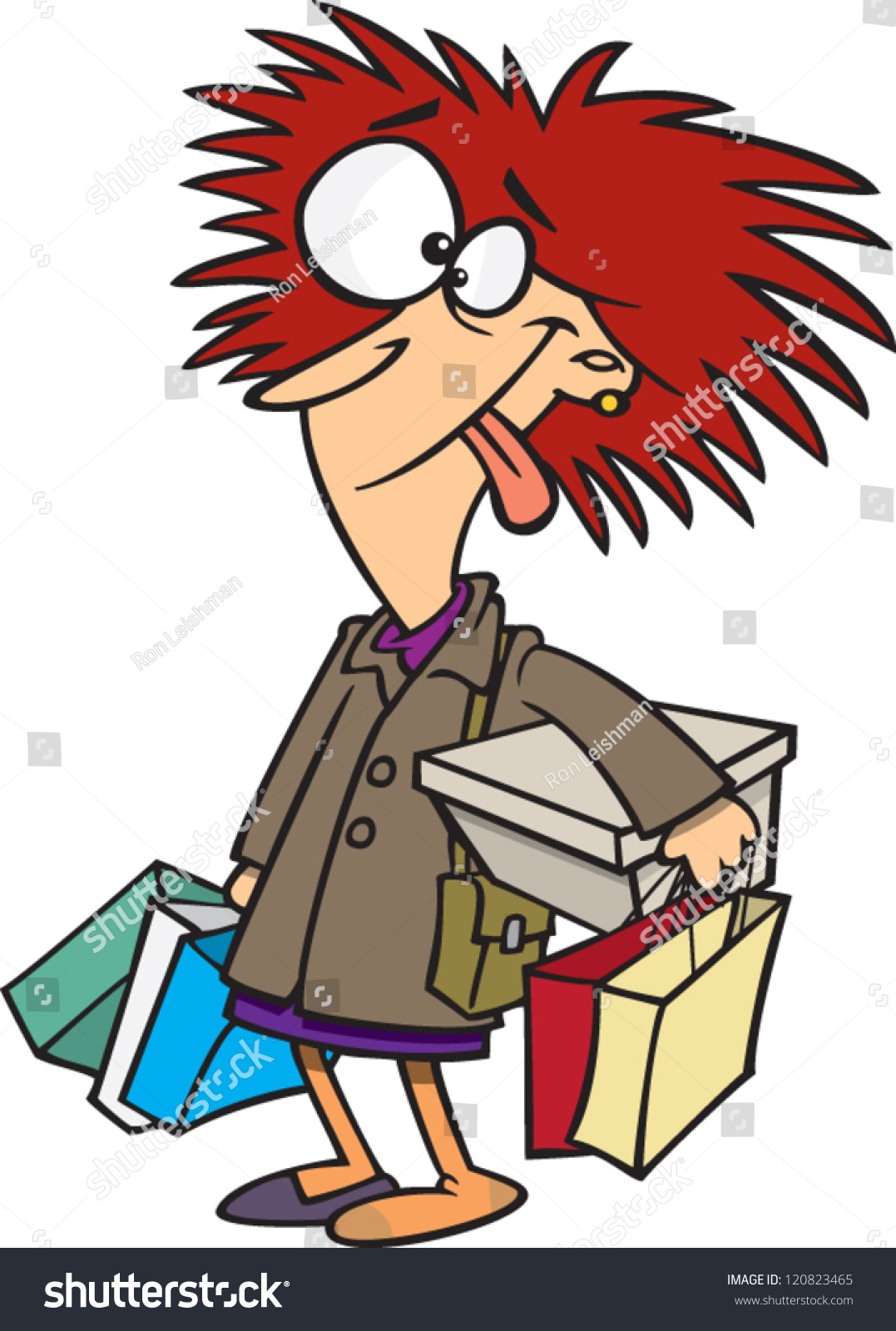 Crazy Cartoon Woman With A Bunch Of Shopping Bags Stock - Free Clipart graphic black and white stock