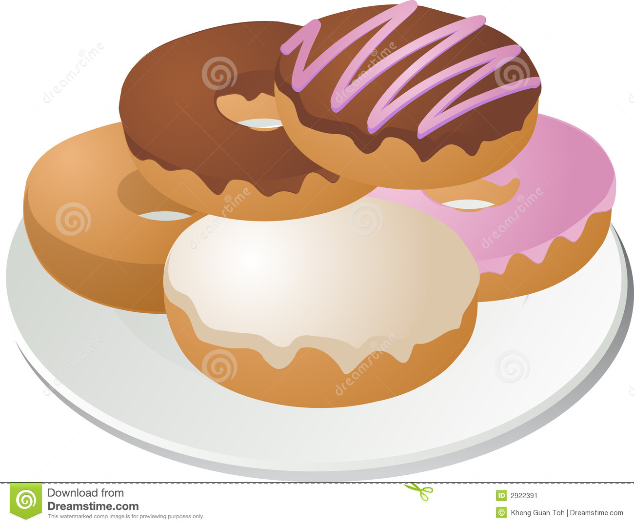 Clipartfest donuts on plate. Cream filled donut clipart