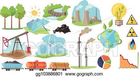 Vector Illustration - Types of natural resources for producing eco ... graphic royalty free