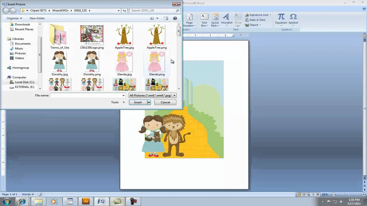 Office 2007 clipart not working clip stock Creating Invitation using Clipart in Microsoft Word clip stock