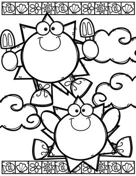 Creative clips clipart coloring pages transparent library Summer Coloring Pages (+ writing papers) {Made by Creative Clips ... transparent library