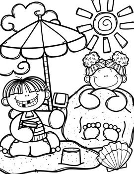 Creative clips clipart coloring pages vector Summer Coloring Pages (+ writing papers) {Made by Creative Clips ... vector