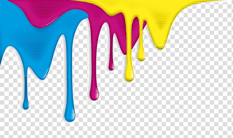 Yellow, pink, and blue inks illustration, Drip painting Aerosol ... clip transparent library