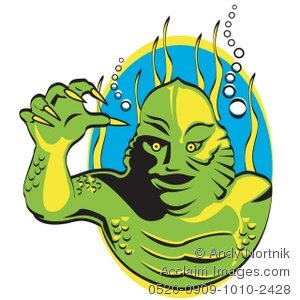 Creature from the black lagoon clipart banner black and white stock Acclaim Images - creature from the black lagoon photos, stock photos ... banner black and white stock