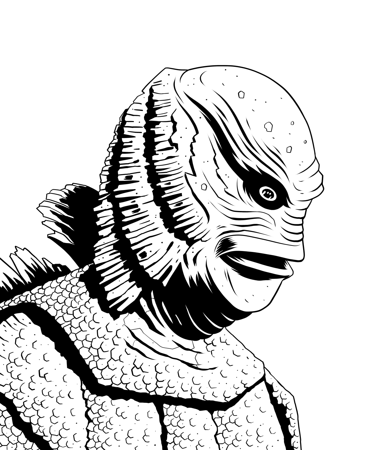 Creature from the black lagoon clipart picture black and white library Ian Jepson — Inktober day 5: Creature from the Black Lagoon! picture black and white library