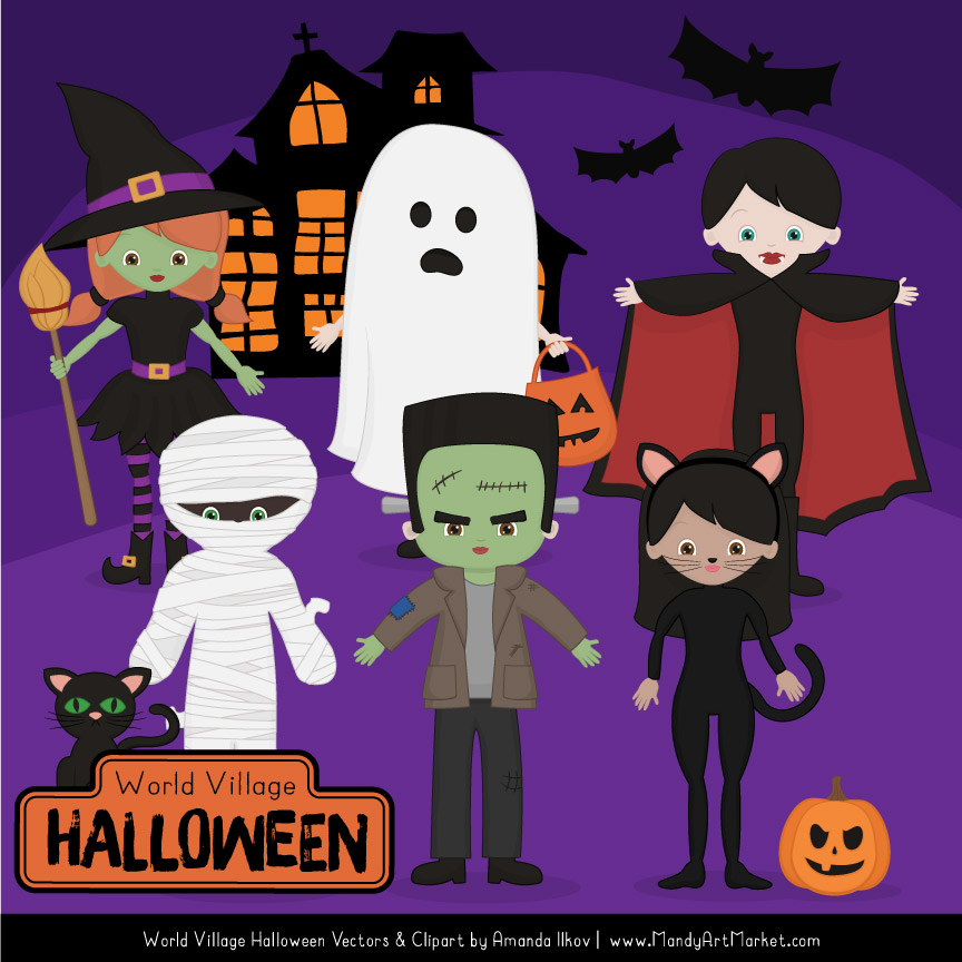 Creepy character cliparts clip art transparent download Spooky Halloween Characters Clipart clip art transparent download