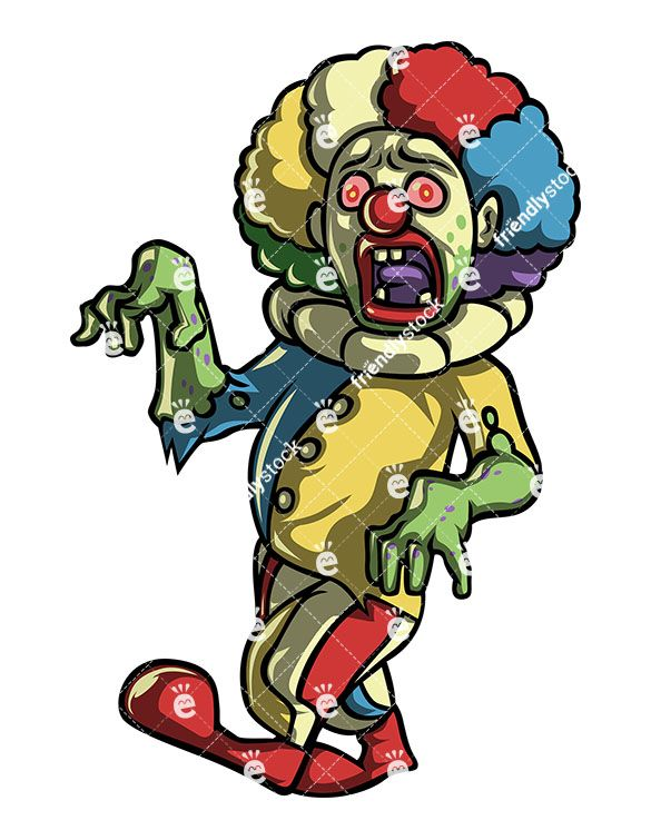 Creepy character cliparts vector royalty free download Creepy Scary Clown Zombie in 2019   Zombie Clipart   Zombie cartoon ... vector royalty free download