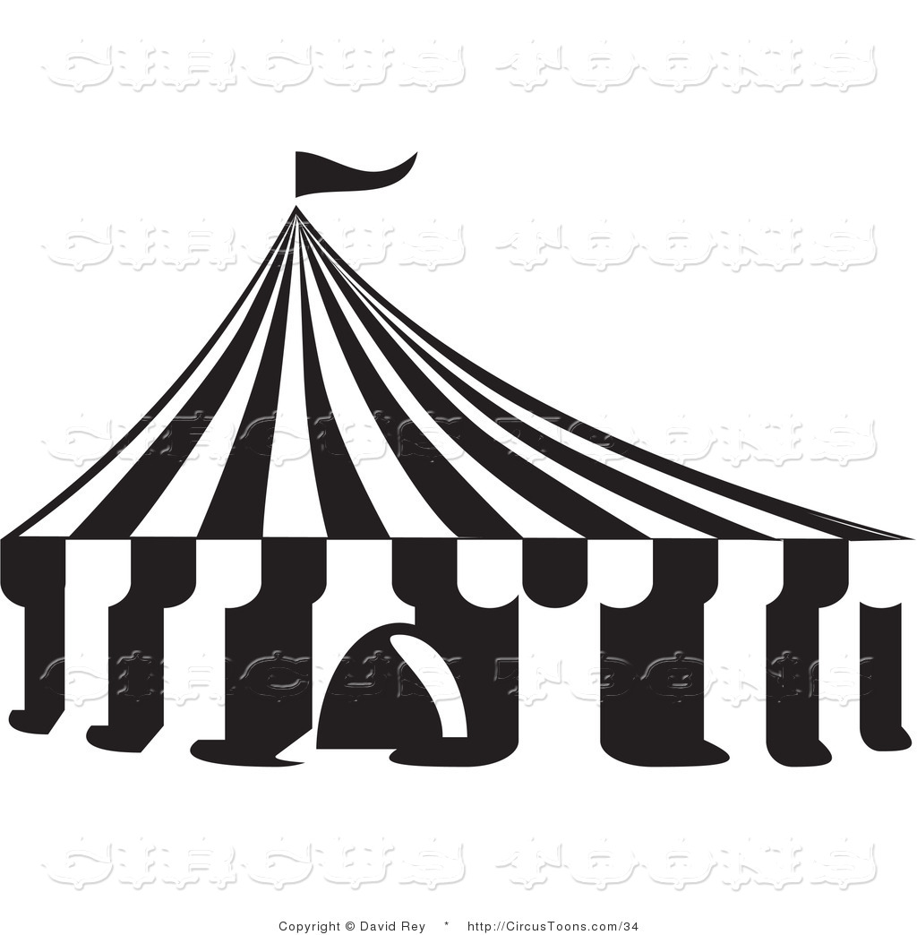 Circus Vector Clipart of a Black and White Big Top Tent by David Rey ... graphic free library