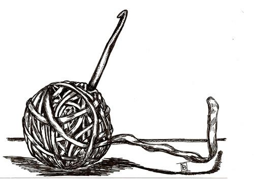 Crochet clipart black and white