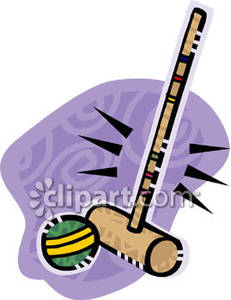 A Croquet Mallet and Ball - Royalty Free Clipart Picture graphic royalty free