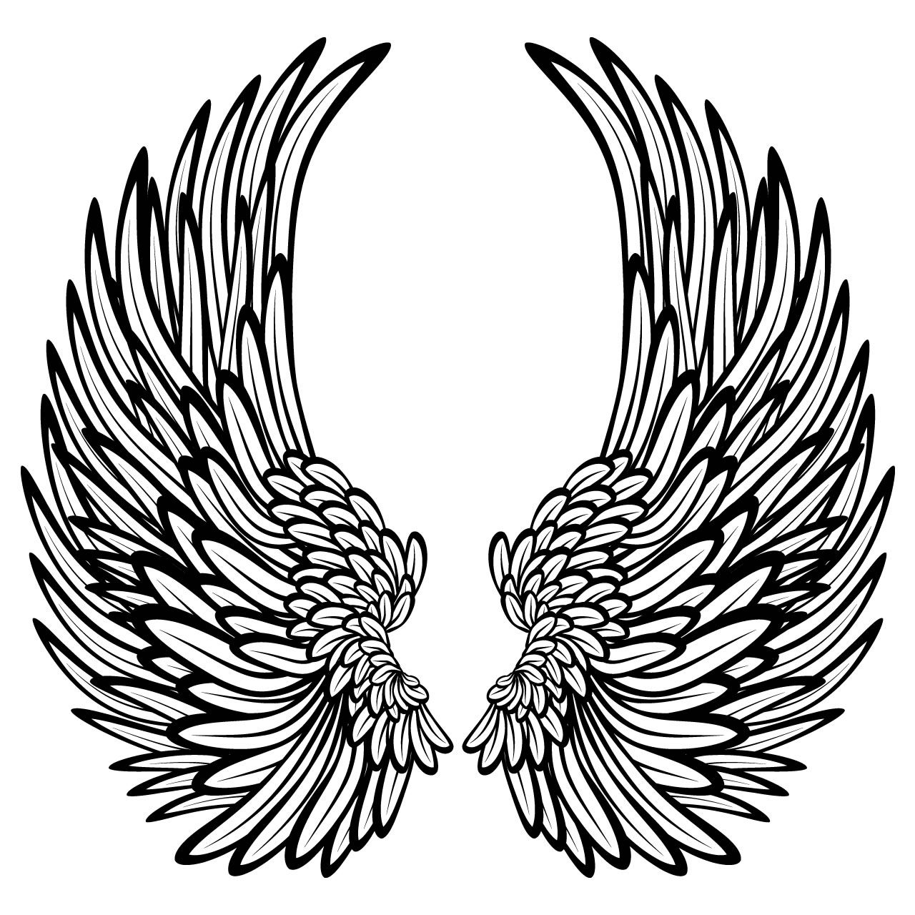 Cross and feathers clipart picture transparent stock Angel Wings With Feathers Wall Stickers / Wall Decals | Angel wings ... picture transparent stock