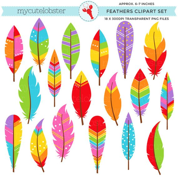 Cross and feathers clipart image library download Rainbow Patterned Feathers Clipart Set - clip art set of feathers ... image library download