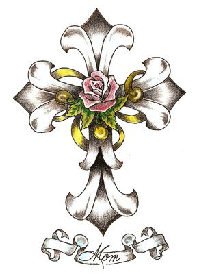 Cross and flowers clipart - ClipartFest image free library