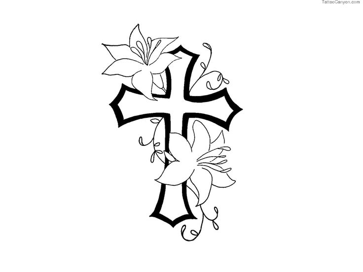 Cross and flowers clipart image download Free Designs Cross With Flower Contour Tattoo Wallpaper Picture ... image download