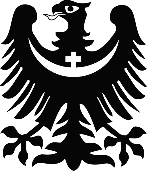 Eagle with crescent clip. Cross and wings clipart