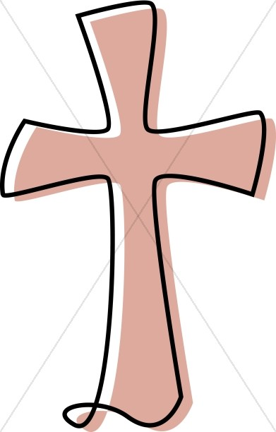 Cross clipart image graphic royalty free library Flowing Cross Clipart in Peach | Cross Clipart graphic royalty free library