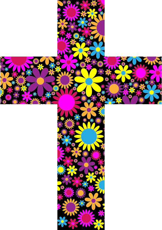 Cross clipart with flowers graphic royalty free Clipart - Floral Cross 2 graphic royalty free