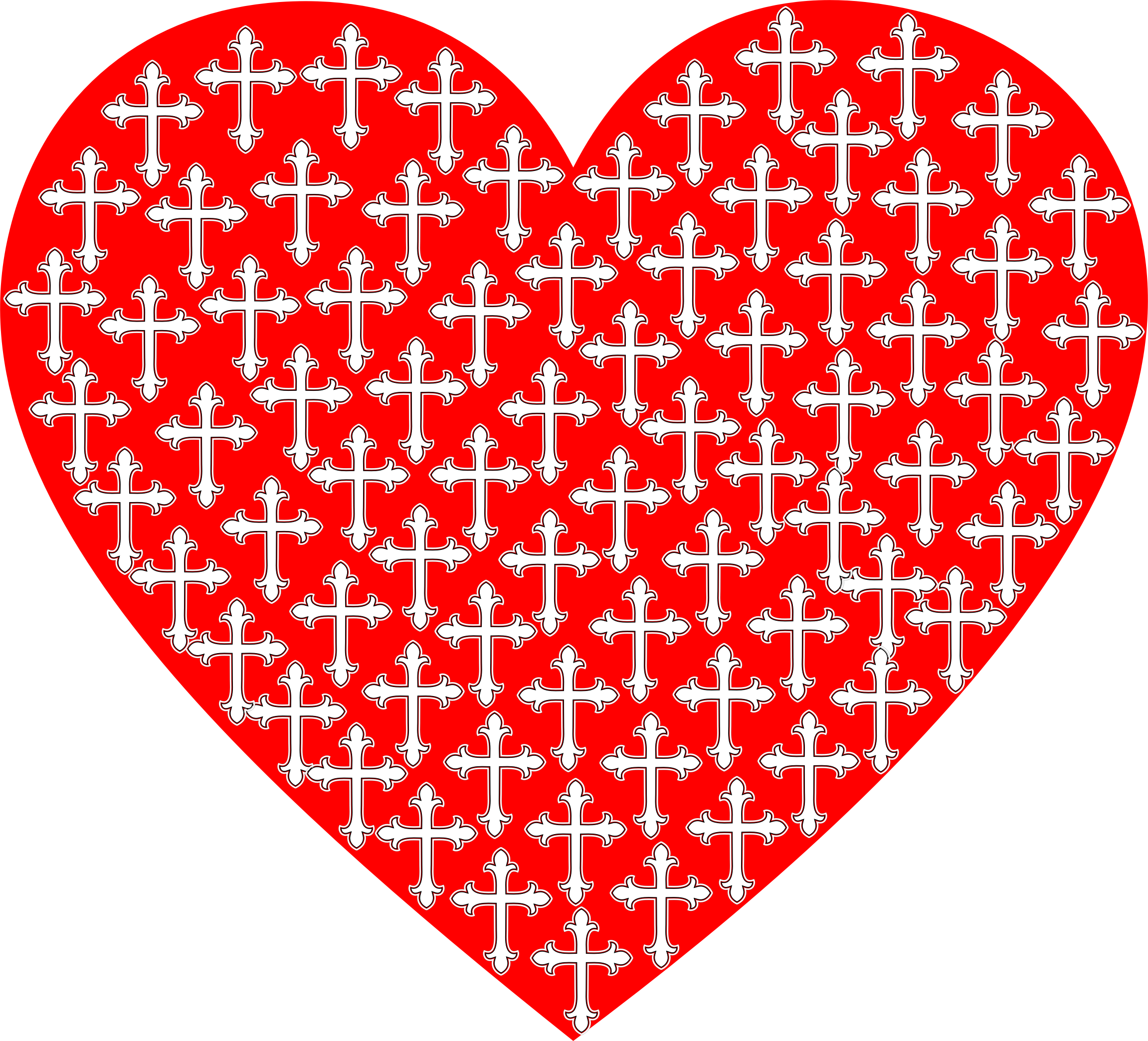 Cross clipart with heart graphic black and white stock Clipart - Love Heart Crosses graphic black and white stock