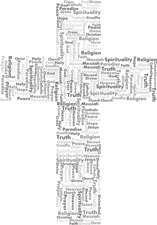 Cross clipart with words png transparent Clipart - Jesus Cross Word Cloud Grayscale png transparent