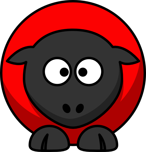 Sheep red on black. Cross eyed clipart
