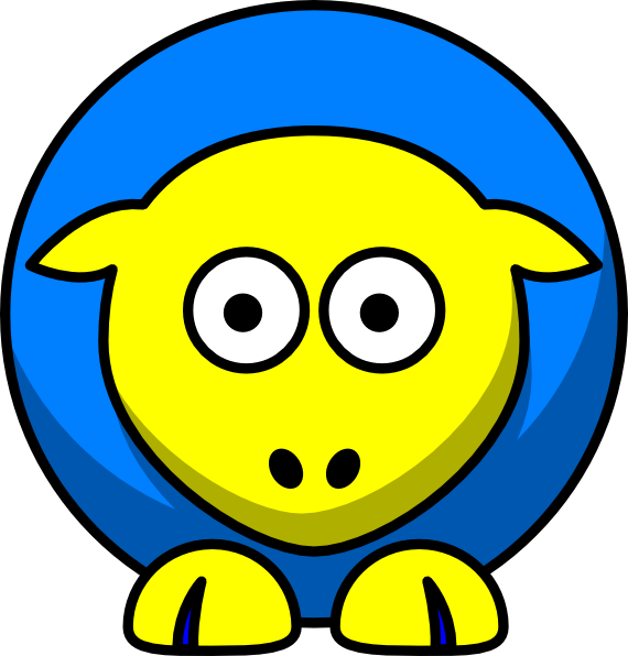 Sheep toned blue and. Cross eyed clipart