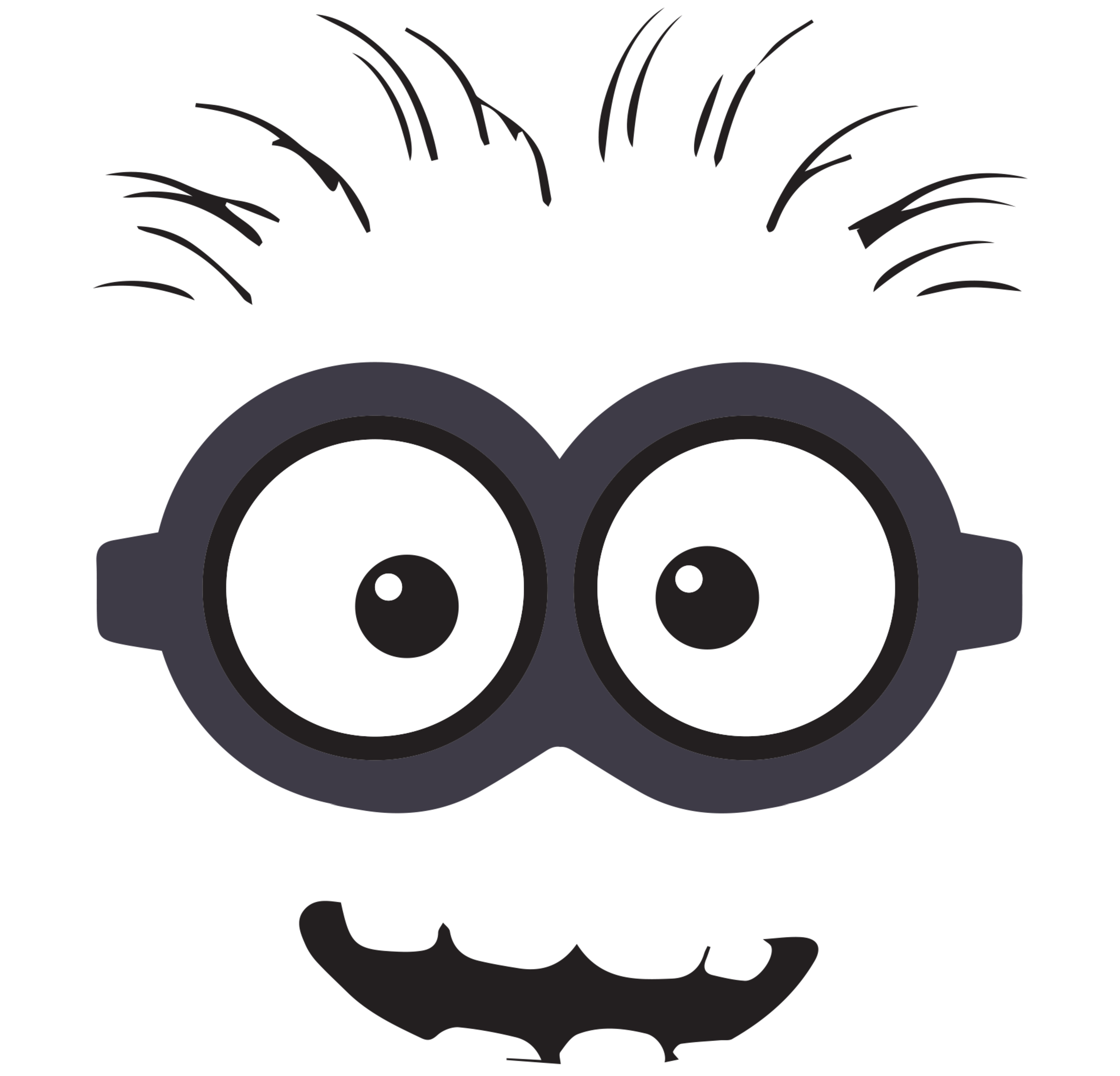 Halloween birthday clipart free graphic 28+ Collection of Minion Eye Clipart Black And White | High quality ... graphic