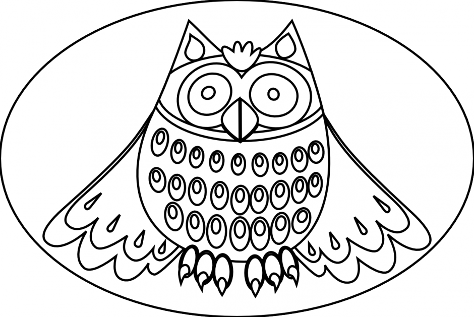 Outline of an owl. Cross eyed clipart