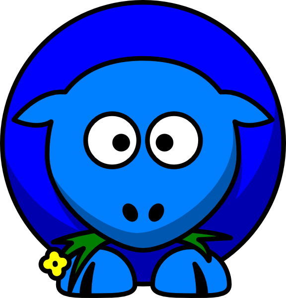 Sheep blue two toned. Cross eyed clipart