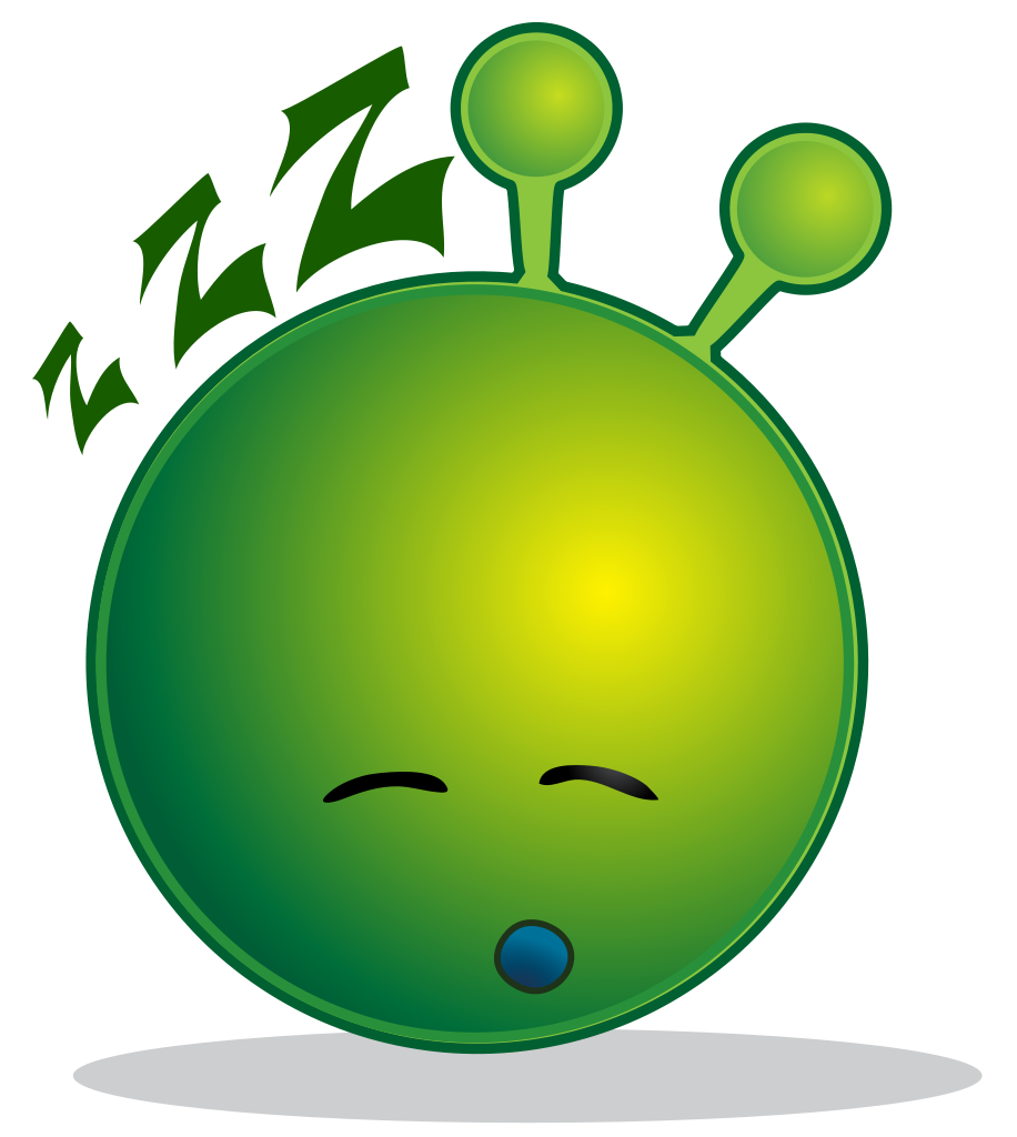 File smiley green alien. Cross eyed tired insomniac writer clipart