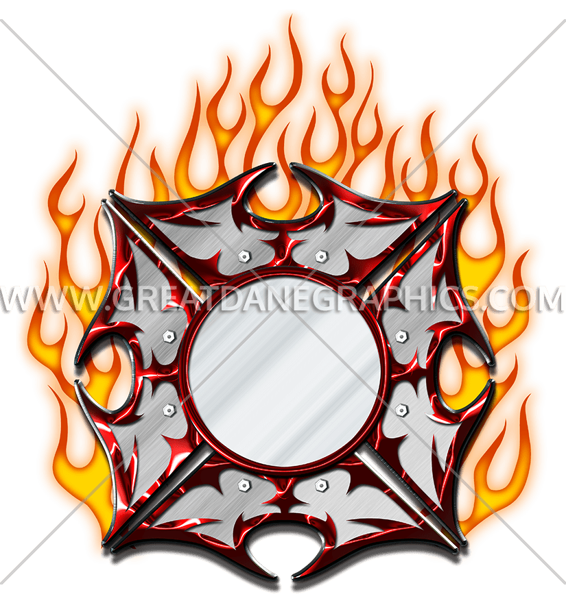Cross & flame clipart image library stock Fire Maltese Cross | Production Ready Artwork for T-Shirt Printing image library stock