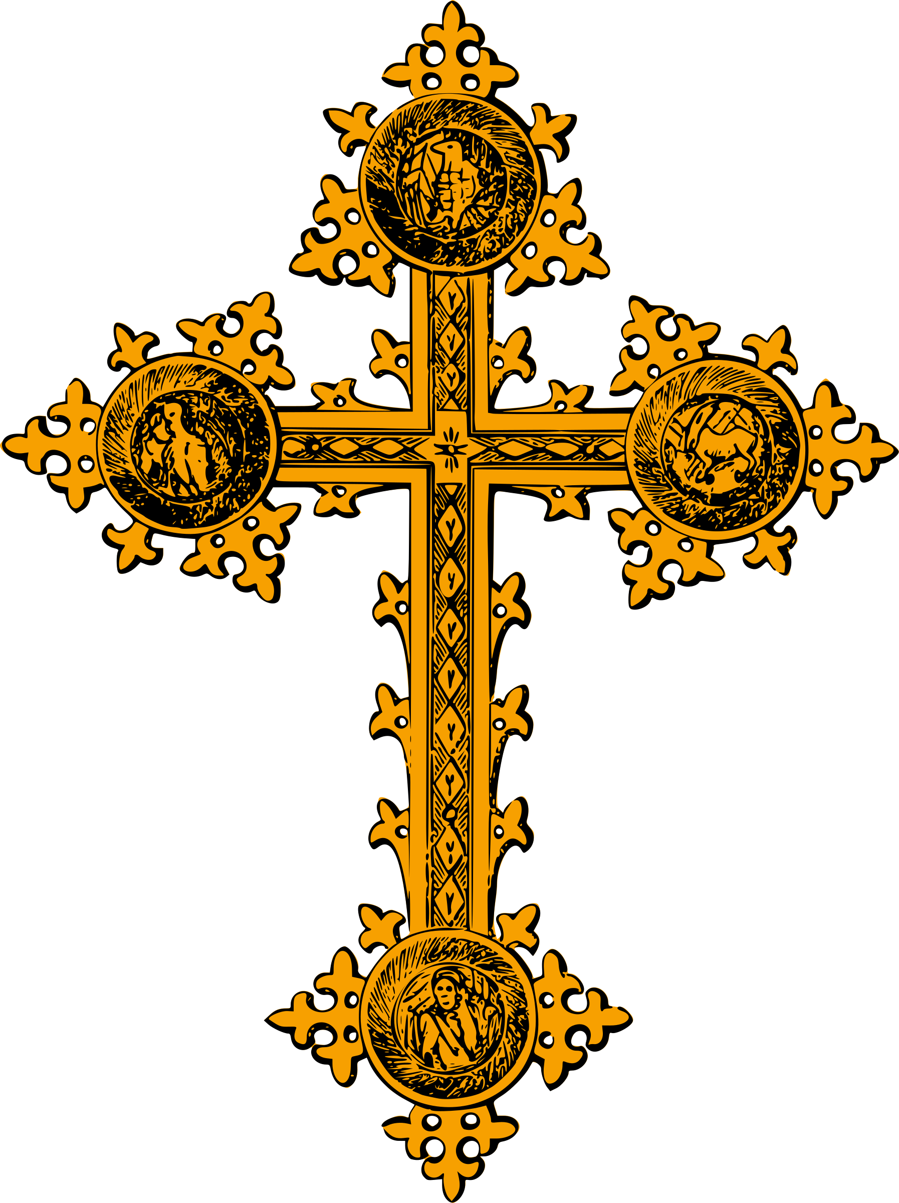 Painted cross clipart picture free Clipart - Freestanding cross (gold with detail) picture free