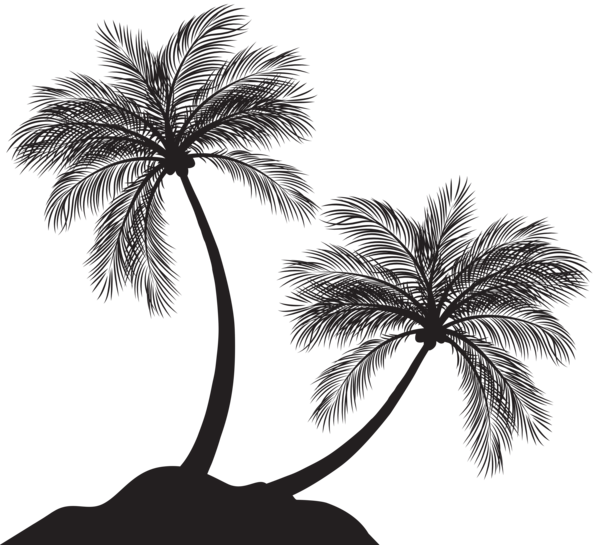 Palm tree island clipart black and white png Two Palm Trees Silhouette PNG Clip Art | sagome stencyl | Pinterest ... png