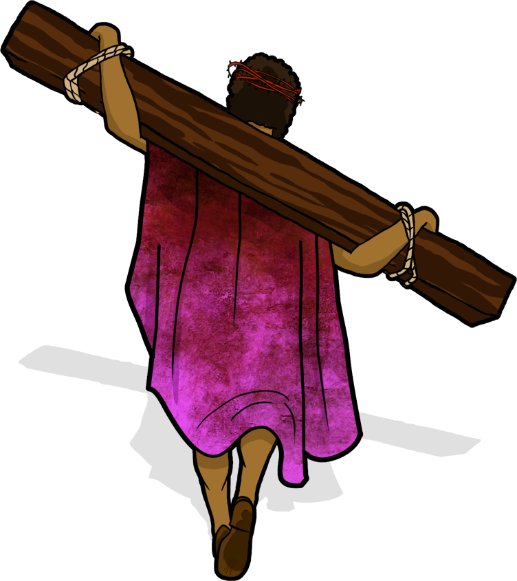 Yeshua (Jesus) carries His crossbeam through the streets of ... clip art