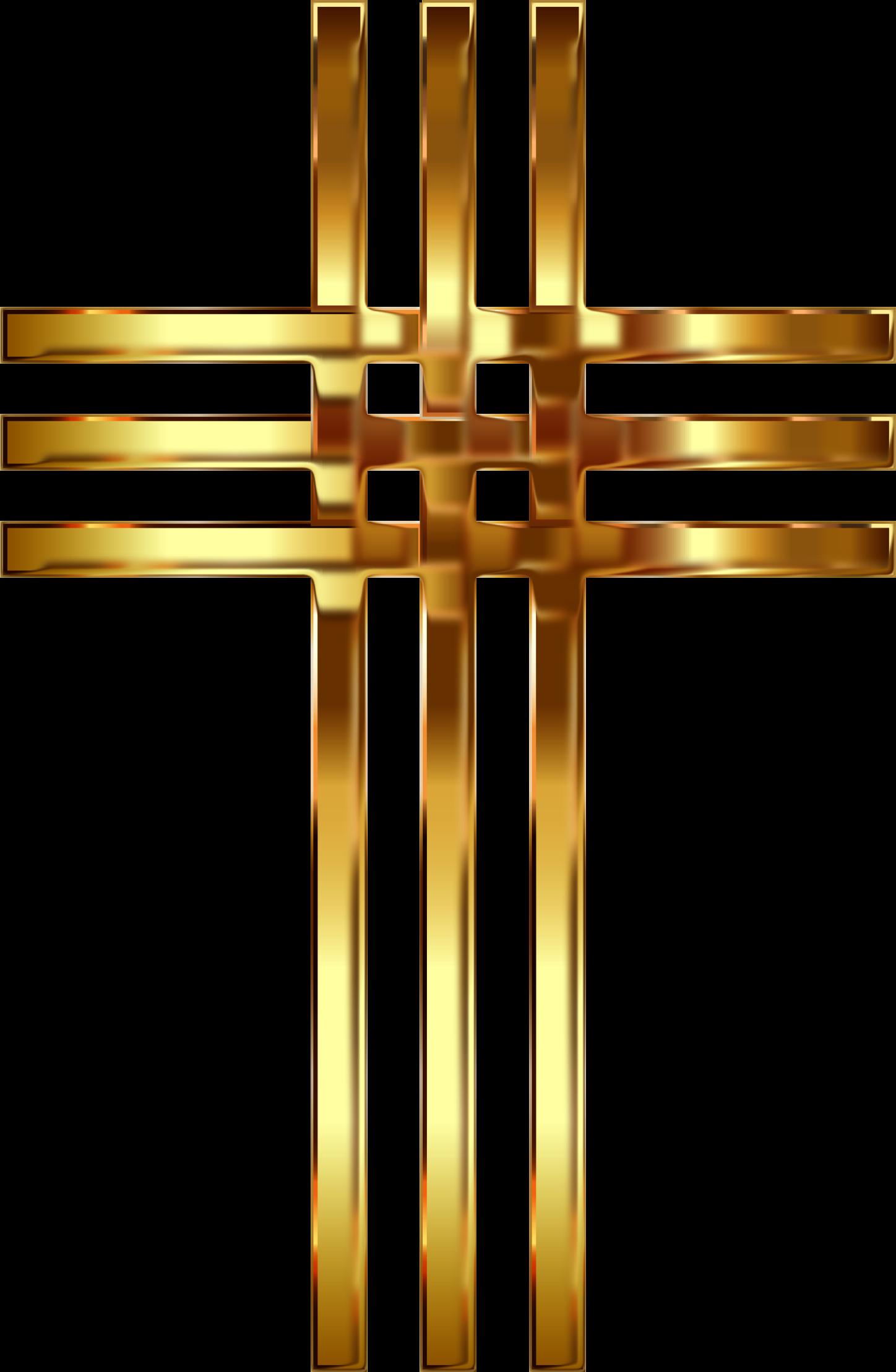 Clipart - Interlocked Stylized Golden Cross Enhanced 2 No Background clip art free stock