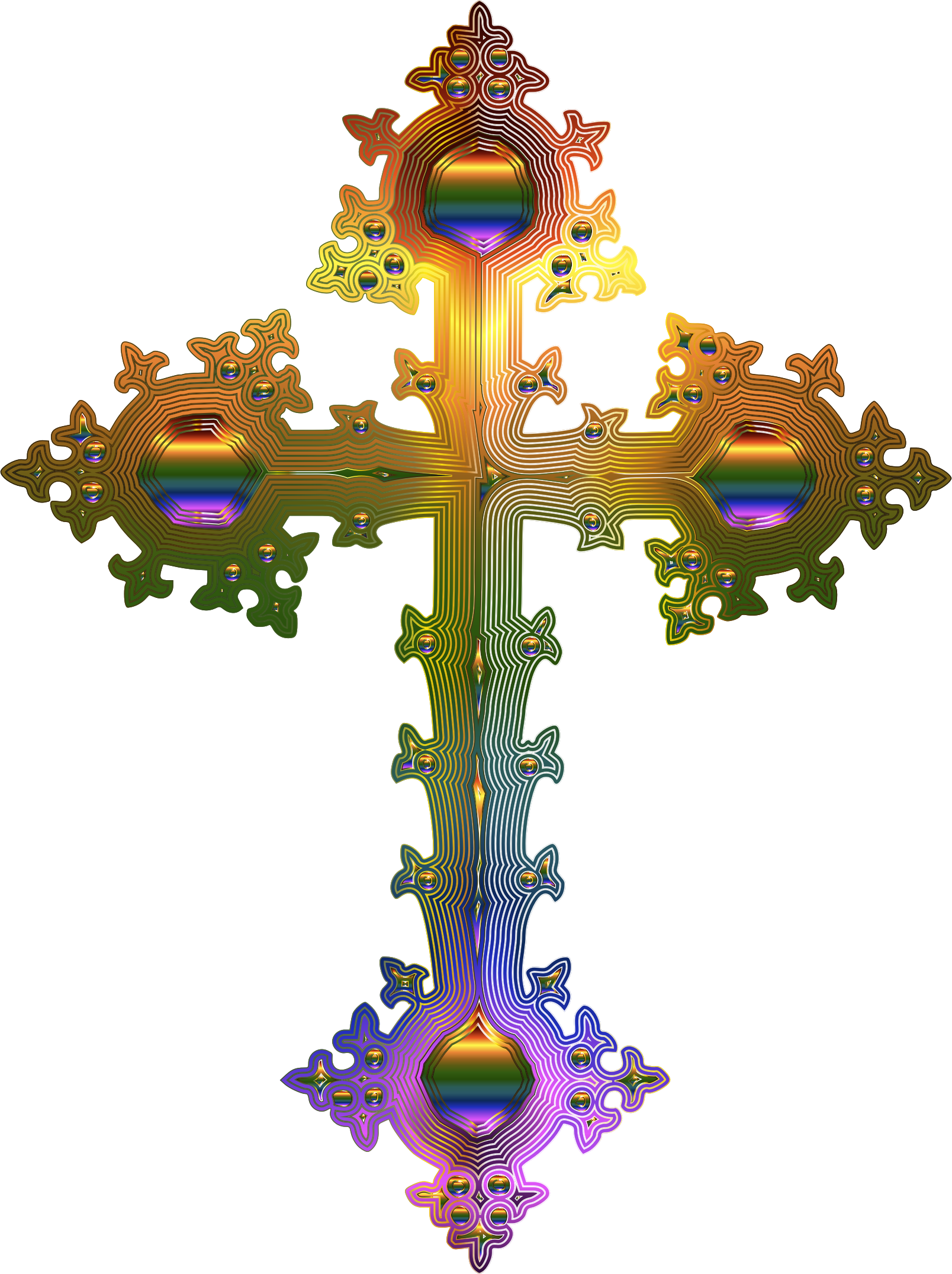 Clipart - Prismatic Ornate Cross 2 No Background vector library library