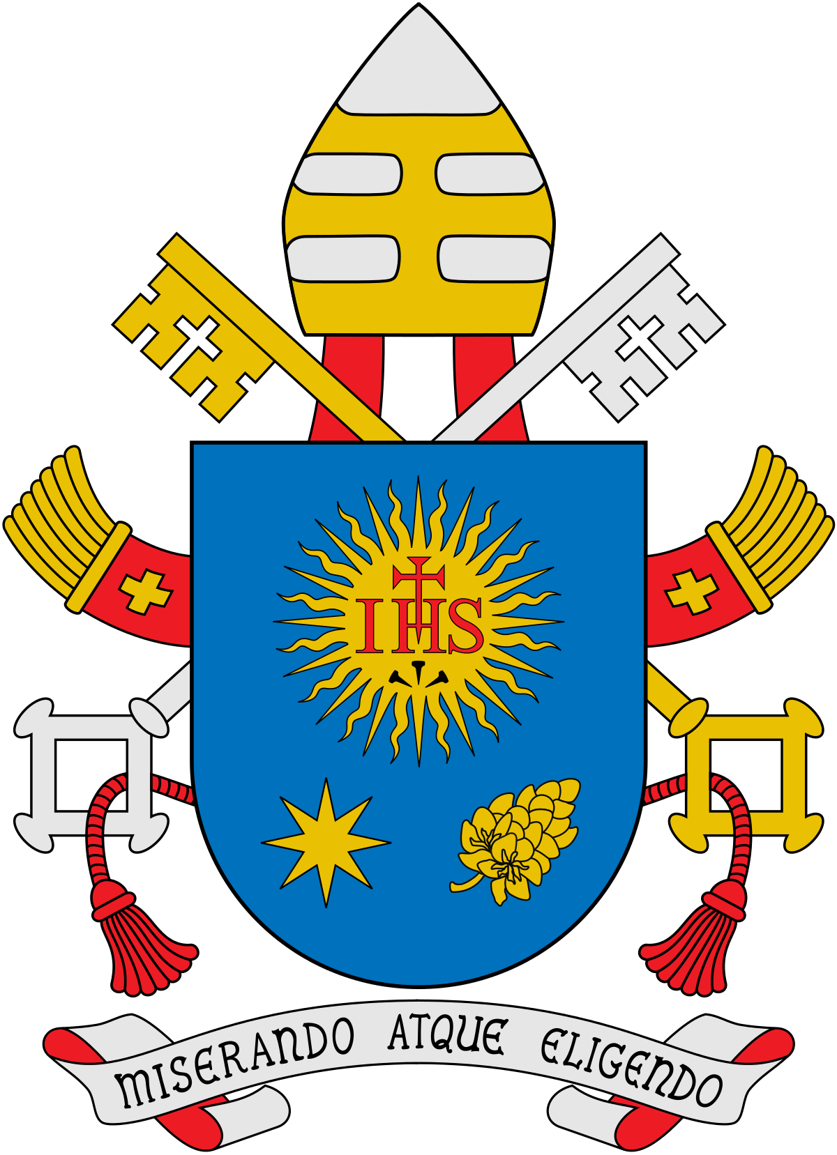 Coat of arms pope. Cross monogram clipart
