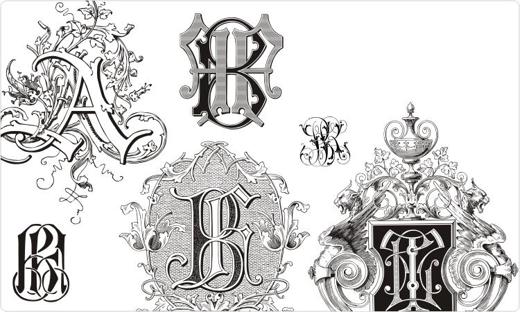 Cross monogram clipart vector black and white stock Free Monogram Clip Art | Monograms - Vector clipart set | Monograms ... vector black and white stock