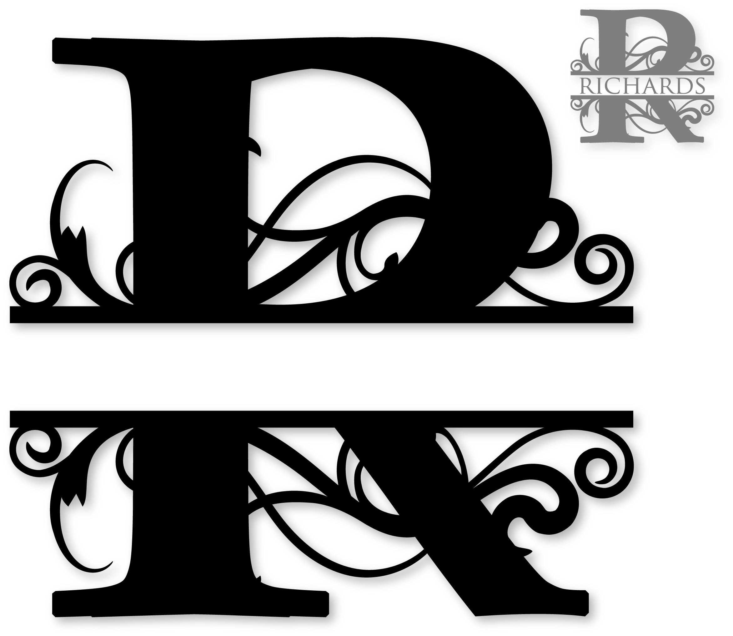 Cross monogram clipart. R split robin identity