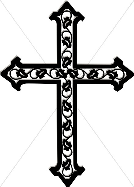 Cross on horizon clipart black and white picture freeuse Cross with Ivy in Black and White | Cross Clipart picture freeuse