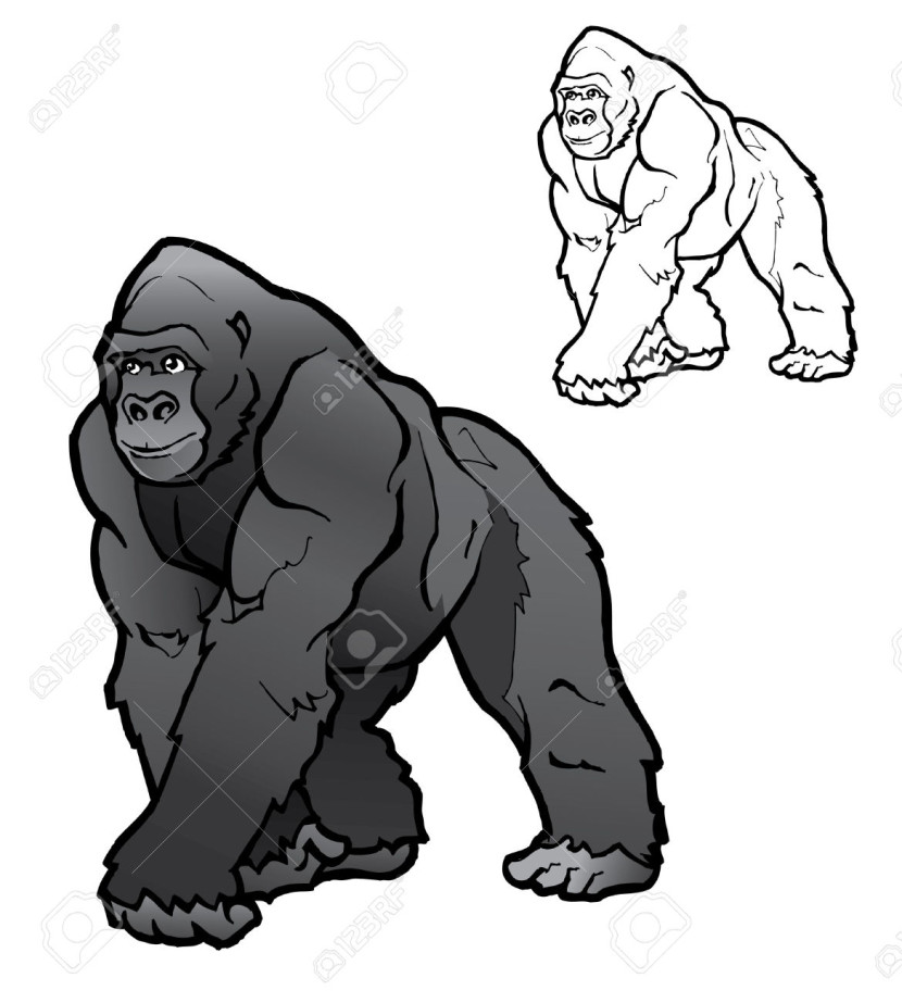 Cross river gorilla clipart image black and white Gorilla clipart black and white free - ClipartFox image black and white