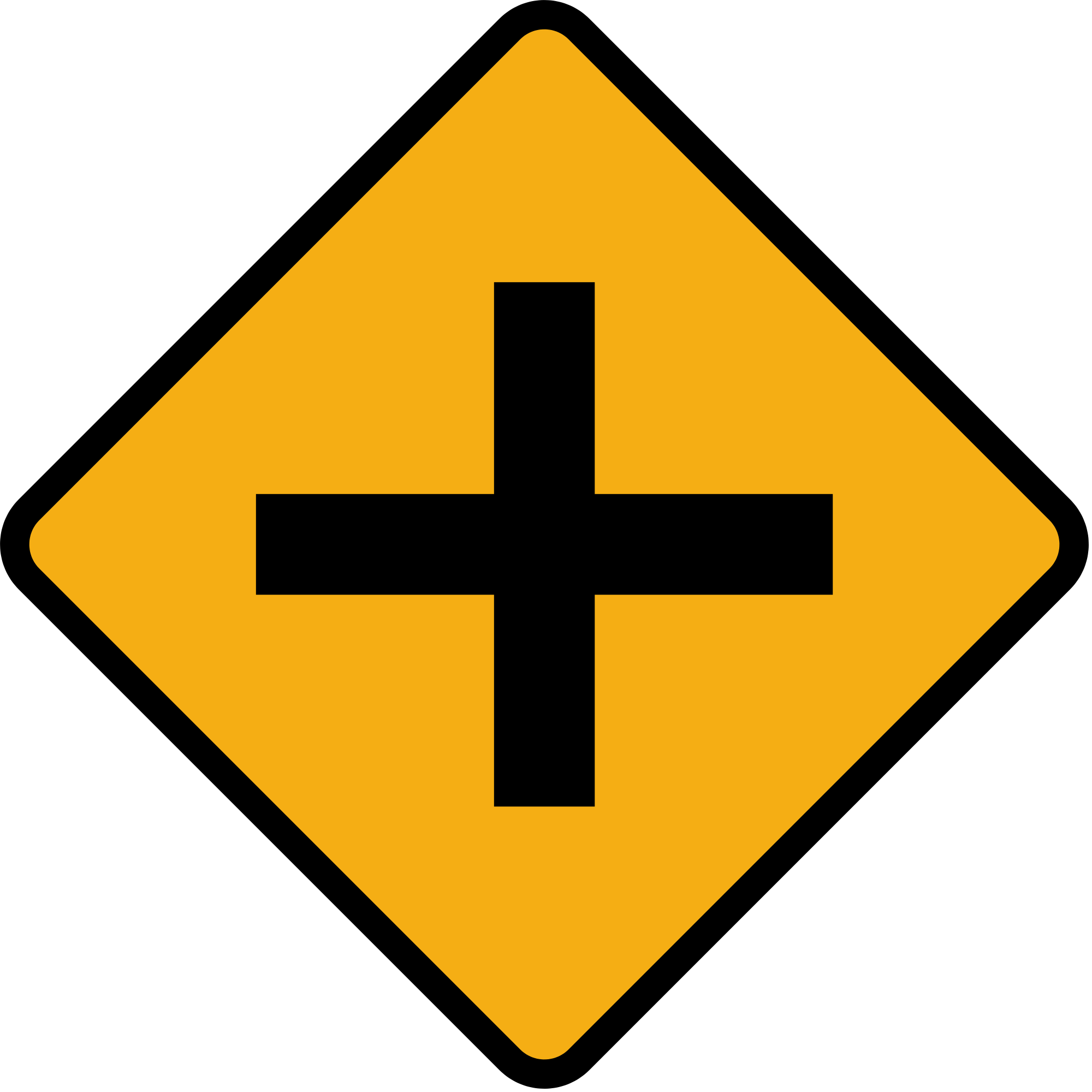 Cross street clipart image black and white File:Diamond road sign junction crossroads.svg - Wikimedia Commons image black and white