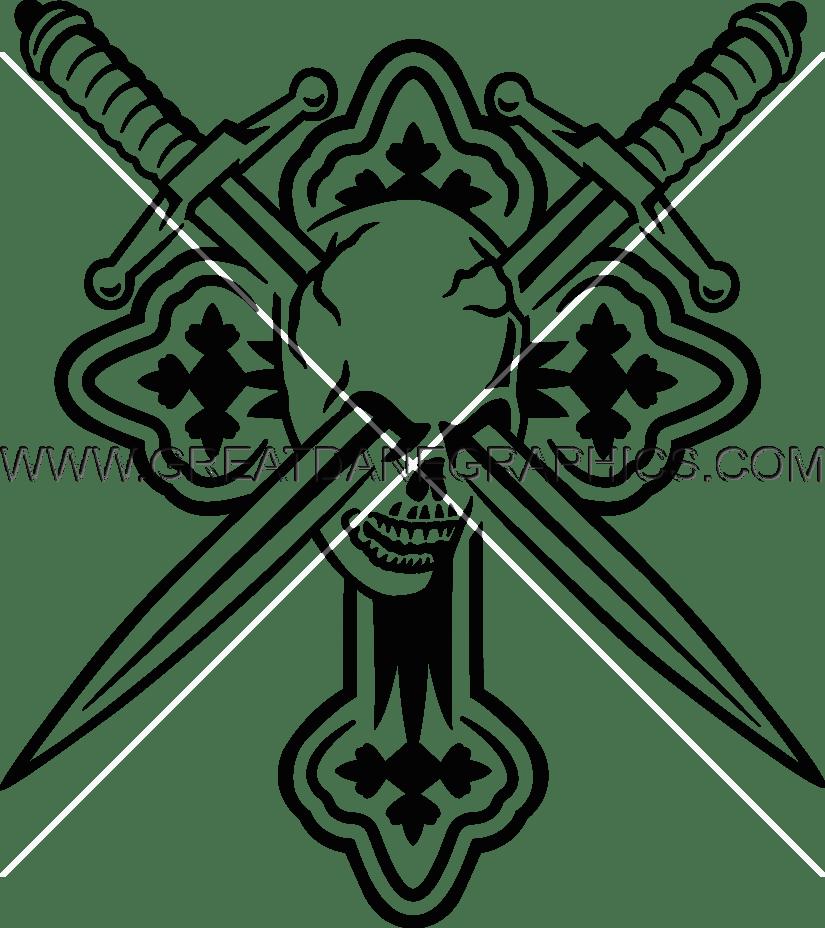 Cross swords clipart picture transparent Skulls, Cross, Swords | Production Ready Artwork for T-Shirt Printing picture transparent