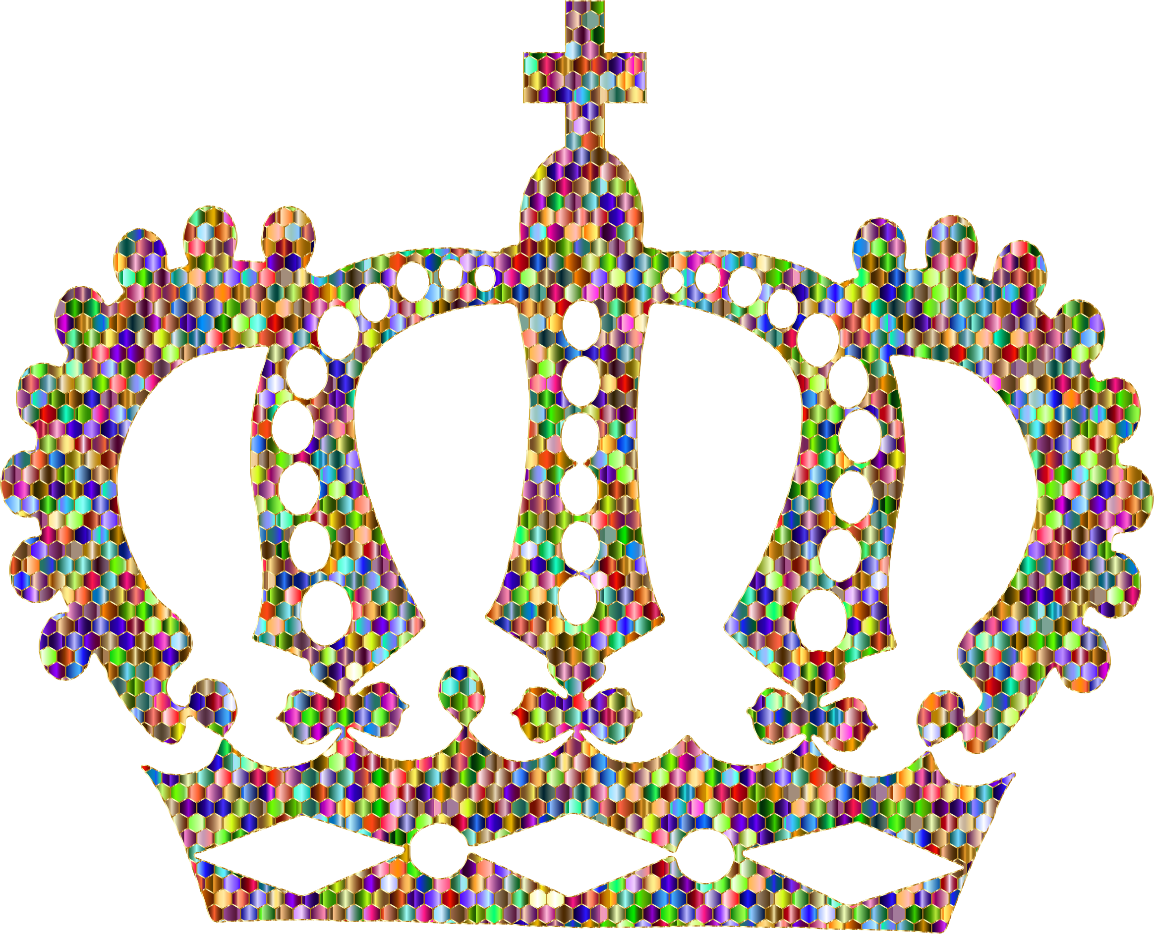 Clipart - Chromatic Gold Royal Crown vector black and white
