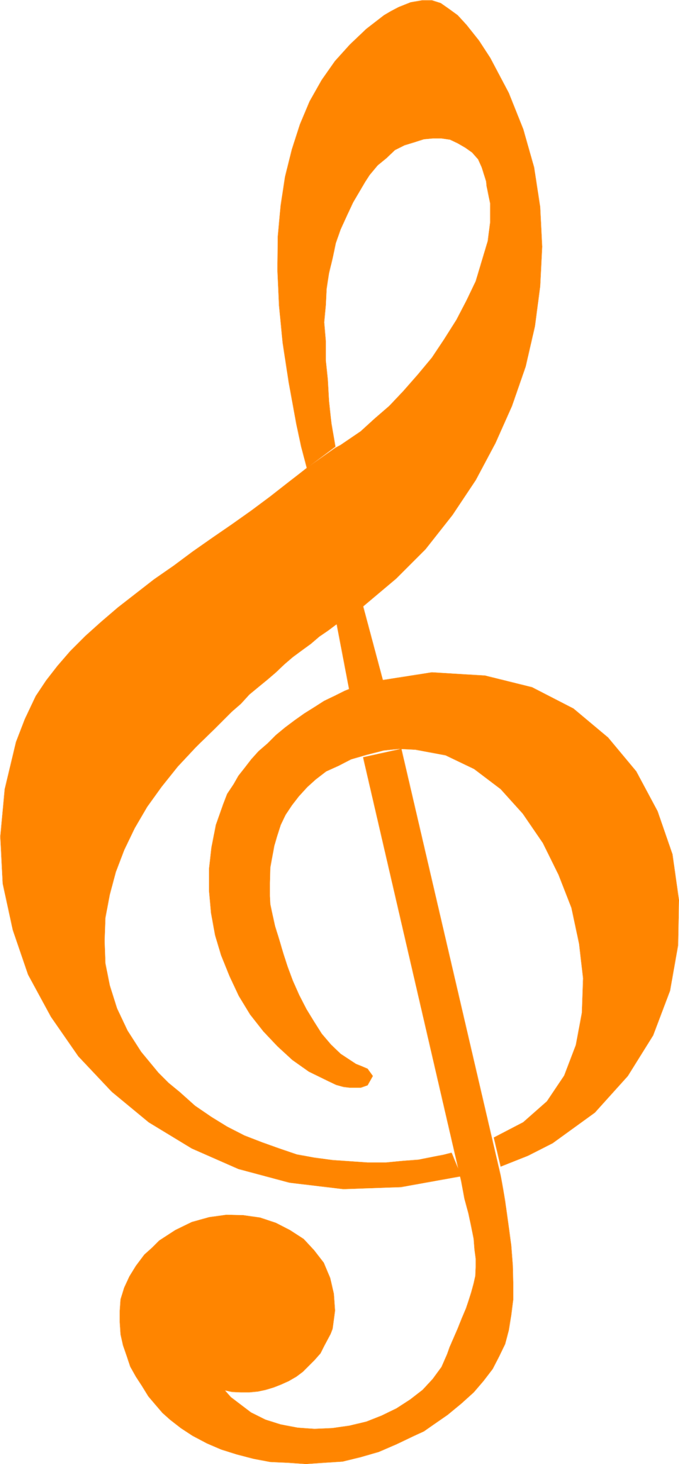 Music notes going around the sun clipart graphic free stock Free Stock Photo: Illustration of an orange treble clef music symbol ... graphic free stock