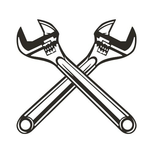 Crossed wrenches clipart clip black and white stock WRENCHES CROSSED BW Clip Art - Get Started At ThatShirt! clip black and white stock