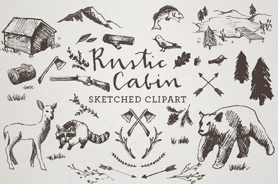 Crosshatch clipart svg royalty free stock Rustic Cabin Clipart - Sketched Clip Art, Crosshatch art, Hand drawn ... svg royalty free stock